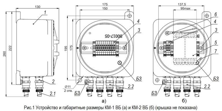Рис.1 Устройство и габаритные размеры КМ-1 ВБ (а) и КМ-2 ВБ (б) (крышка не показана)