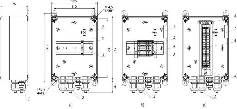 Устройство и габаритные размеры КМ-1 (а), КМ-2 (б), КМ-3 (в) (крышка не показана)